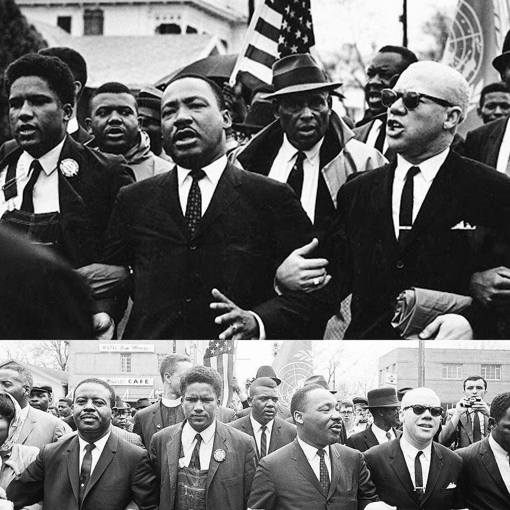 immagini di archivio di Martin Luther King alla marcia di Selma