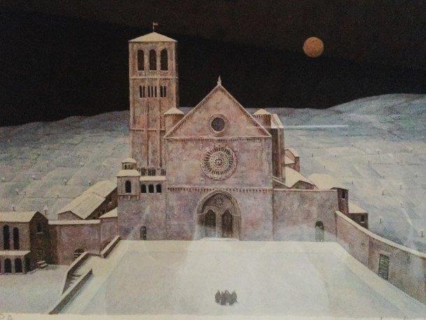 la Basilica Superiore di Assisi con i fraticelli sul prato innevato, uno dei quadri di Norberto che più amo