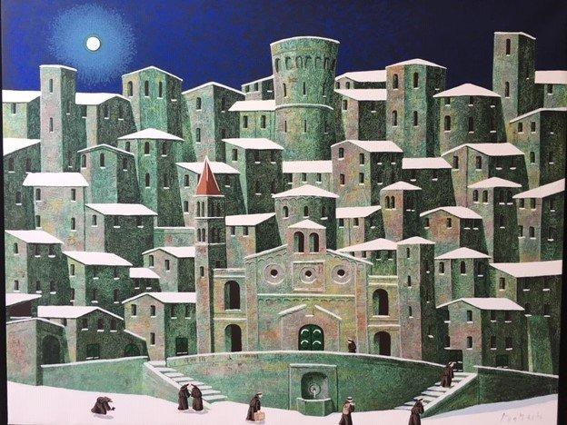 gli adorabili fraticelli indaffarati del quadro di Norberto sullo sfondo di un borgo che ha l'aria di essere Spello