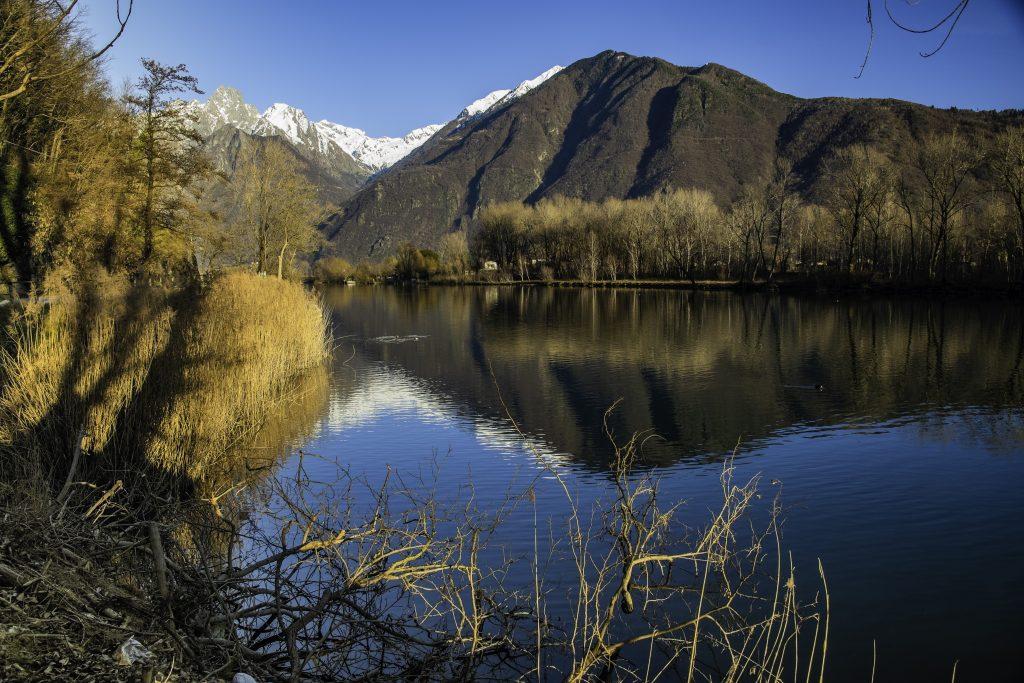 fiume e lago si confondono nei pressi di Sorico